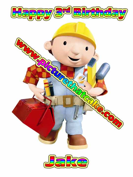 Bob The Builder A4 10 X 75 Cake Topper 499 Picture That Cake