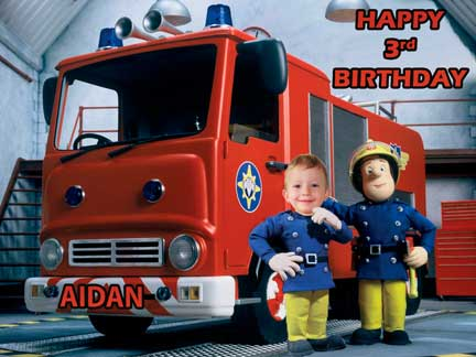 Fireman Sam Your child A4 10 x 75 photo Caketopper 749 – Fireman Sam Birthday Cards