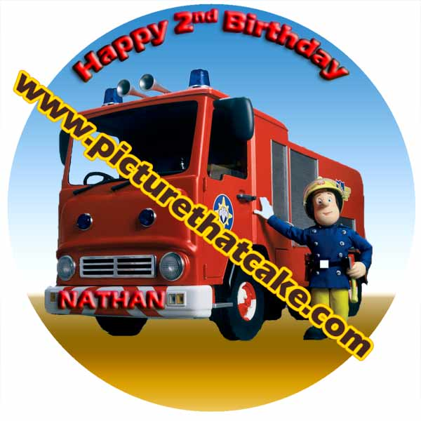 "Fireman Sam 7.5"" Round Caketopper Personalised"