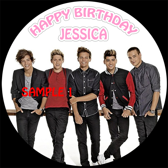 One Direction Round Caketopper (Image 1)