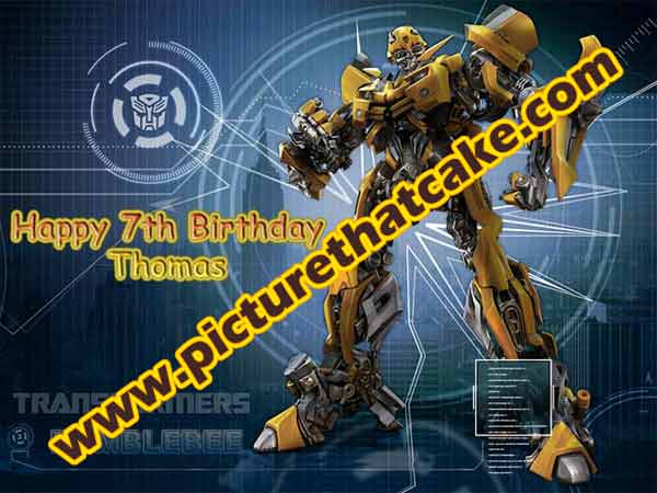 "Transformers - Bumblebee A4 10"" x 7.5"" Caketopper Personalised"