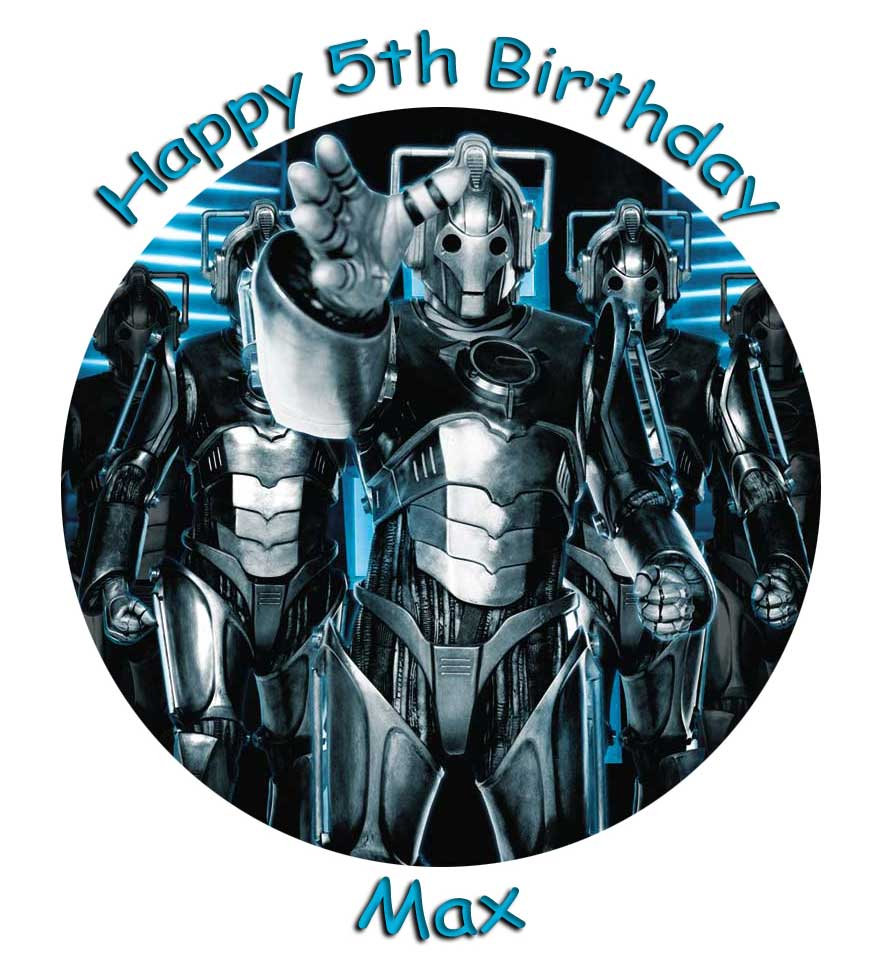 "Cybermen 7.5"" Round Caketopper Personalised"