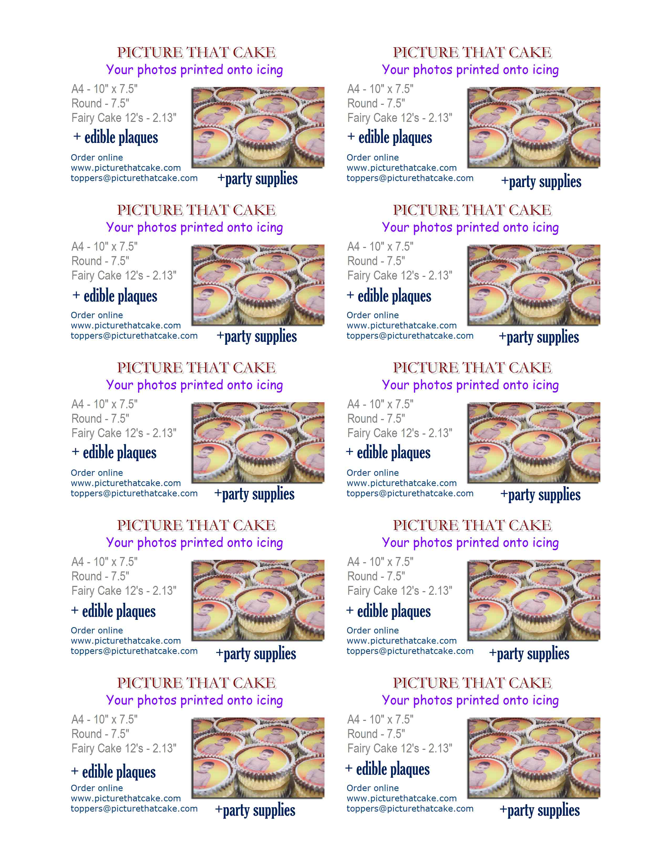 Print our business card picture that cake caketoppers icing click here to view our business cards or right click and save as or right click and save target then print it reheart Images