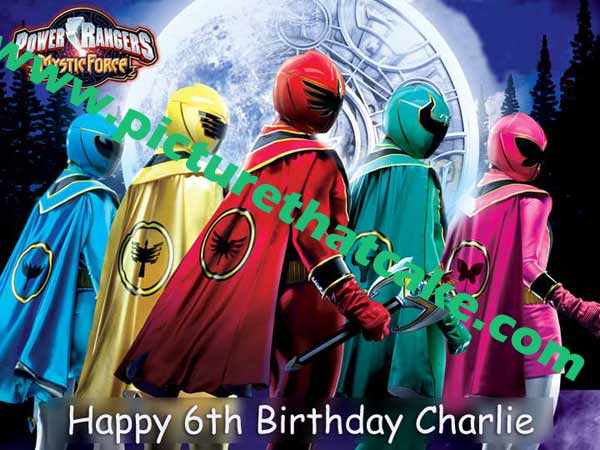"Power Rangers Mystic Force A4 10"" x 7.5"" Caketopper"
