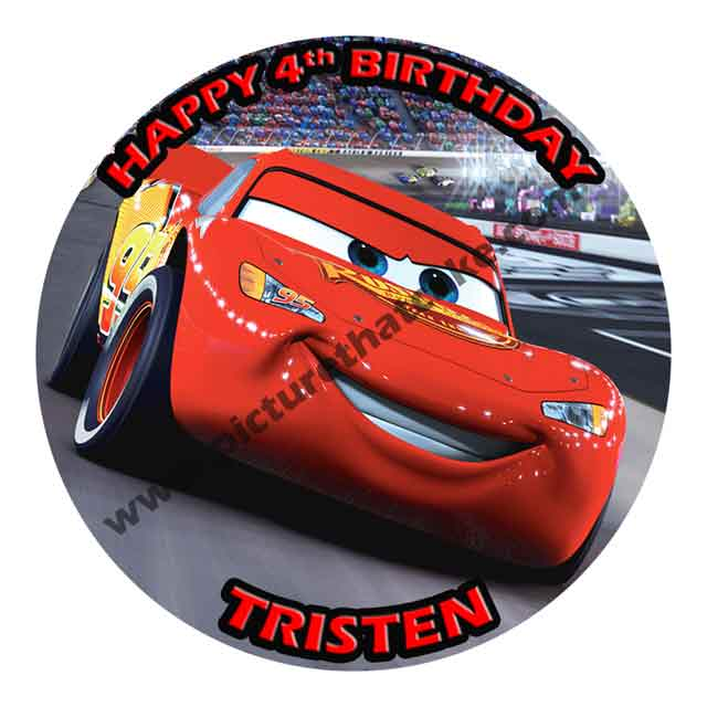 "Cars Lightning McQueen 7.5"" Round Cake toppers"